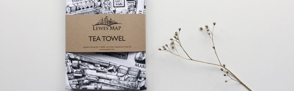 lewes map, lewes, sussex, tea towel, screen printed, 100% cotton, made in the UK, shop local, map, illustration, hand drawn, black and white, manuscript, historical, art, design, gift, christmas present